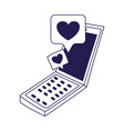 social media smartphone chat message love romantic vector image