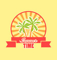 summer time logo with fruits and ribbon rays vector image vector image