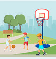 teenagers playing basketball boy roller skating vector image vector image