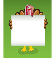 turkey holding blank sheet paper vector image vector image