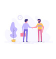two confident young men are shaking hands together vector image vector image