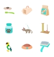 Veterinarian icons set cartoon style vector image vector image