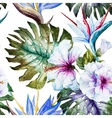 Watercolor hibiscus patterns vector image vector image