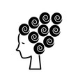 woman face beauty - hair curler - curled wave icon vector image