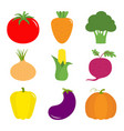 vegetable icon set pepper tomato carrot vector image