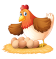 A hen and her seven eggs vector image vector image