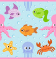 background seamless card with sea animals vector image vector image
