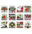 baseball sport game icons with balls bats and cup vector image vector image