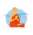 buddhist monk are pray with religion clothes in vector image