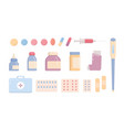 bundle of medical tools and medicines isolated on vector image