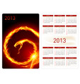 calendar twenty thirteen fire snake for design vector image