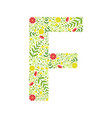capital letter f green floral alphabet element vector image