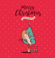 christmas bird in holiday pine tree card cartoon vector image