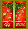 Christmas greeting card with Christmas tree branch vector image vector image