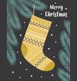 christmas greeting card with cute sock isolated vector image
