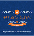 christmas greetings card design with blue vector image vector image