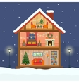Christmas house in cut with snow vector image vector image