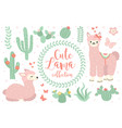 cute lama set objects collection design elements vector image