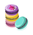 delicious macaroon colorful dessert vector image vector image