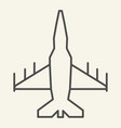 fighter aircraft thin line icon military airplane vector image