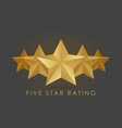 Five golden rating star in gray black background