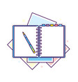 flat design notepad with a pen vector image