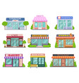 flat shops set barber shop bookstore and vector image