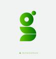g monogram abstract logo green letter vector image