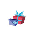gift box with wallet money vector image vector image