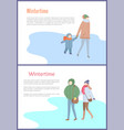 going couple and mum with kid in wintertime vector image vector image