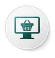 green computer monitor with shopping basket icon vector image vector image