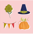 happy thanksgiving day hat pumpkin flower pennant vector image vector image