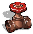industrial copper or brass water valve isolated on vector image