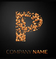 letter p logo gold dots alphabet logotype vector image