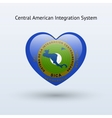 Love Central American Integration System symbol vector image vector image