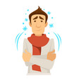man in scarf with cold shivering or trembling vector image vector image