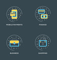 mobile payments finance business shopping set vector image vector image