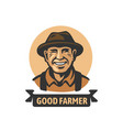 old smiling farmer with text vector image vector image
