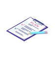 plan on page of clipboard pen and documentation vector image vector image