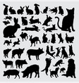 rabbit dog pig and cat action silhouettes vector image vector image
