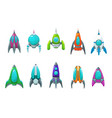 rocket space ship spaceship shuttle icons set vector image