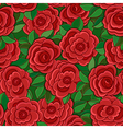 Seamless background with red roses and leaves vector image