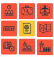 set of 9 traveling icons includes road map vector image vector image