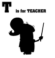Teacher cartoon silhouette vector image vector image