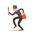 thief in a mask sneaking with a crowbar and a sack vector image vector image