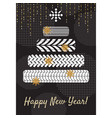 tire new year tree greeting card concept vector image
