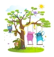 Tree friends animals birds monsters bees in sunny vector image vector image