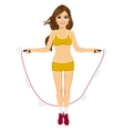 young fitness woman jumping rope vector image vector image