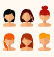 young pretty women pretty faces with different vector image vector image