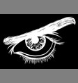 a of a eye men on black background vector image vector image